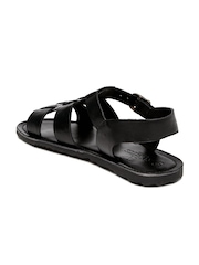 INVICTUS Men Black Leather Sandals