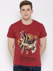 Ed Hardy Red Graphic Print T-shirt