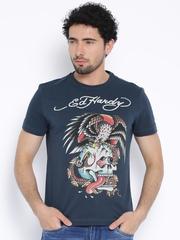 Ed Hardy Teal Blue Printed T-shirt