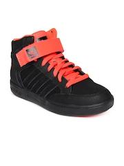 Adidas Men Black & Neon Orange Leather Varial Mid Casual Shoes