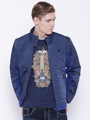 Lee Navy Quilted Panelled Jacket
