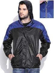 Sports52 wear Black & Blue Printed Hooded Reversible Jacket