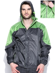 Sports52 wear Grey & Green Comfort Fit Reversible Hooded Wind Cheater Jacket