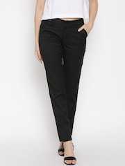 Devis Black Smart Fit Casual Trousers