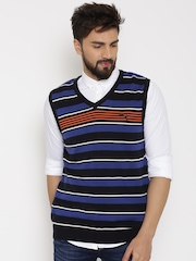 PUMA Blue Striped Sleeveless Sweater