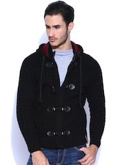 HARVARD Black Hooded Woollen Cardigan