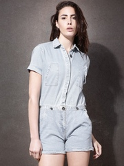 Roadster Blue Two-Way Denim Rompers