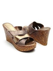 Catwalk Women Bronze-Toned Wedges