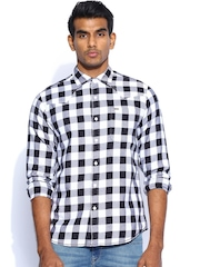 Lee Black & White Checked Casual Shirt