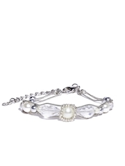 Mast & Harbour Silver-Toned Dual-Stranded Beaded Bracelet
