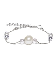 Mast & Harbour Silver-Toned Beaded Bracelet