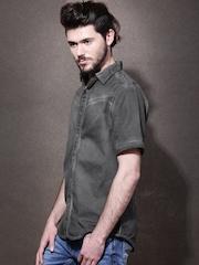 RDSTR Charcoal Grey Slim Casual Shirt