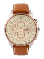CASIO Edifice Men Cream-Coloured Chronograph Dial Watch EX257