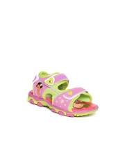 Dora by Kidsville Pink & Fluorescent Green Sports Sandals
