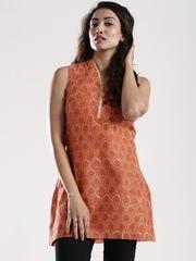 Fabindia Orange Hand Block Printed Kurta