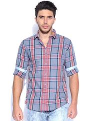 Wills Lifestyle Grey & Red Checked Slim Casual Shirt