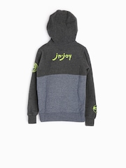 Jn Joy Boys Grey & Blue Hooded Sweatshirt