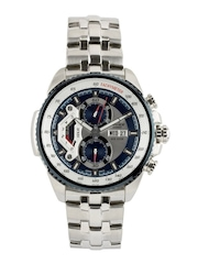CASIO Edifice Men Blue & Silver-Toned Dial Chronograph Watch ED437