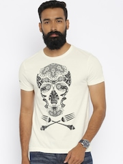 Ed Hardy Off-White Printed T-shirt