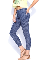 Xpose Blue Printed Denim Capris