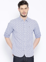 Lee White & Blue Checked & Printed Casual Shirt