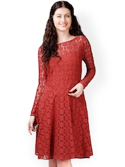 Eavan Rust Brown Lace Fit & Flare Dress