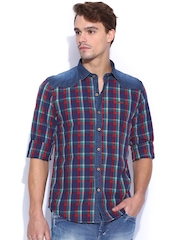 TWILLS Multicoloured Scapes Checked Casual Shirt