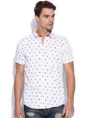 TWILLS White Scapes Printed Slim Fit Casual Shirt