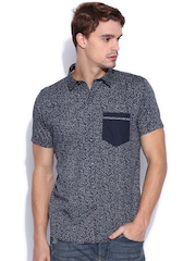 Twills Navy Scapes Printed Casual Shirt