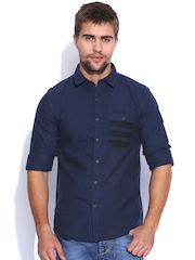 TWILLS Navy Scapes Slim Fit Casual Shirt
