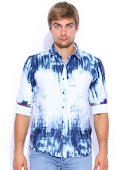 TWILLS Blue Printed Scapes Casual Shirt