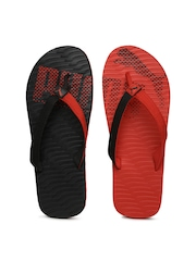 PUMA Unisex Red & Black Flip-Flops