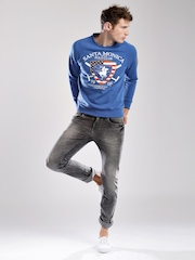 Santa Monica Blue Printed Sweatshirt