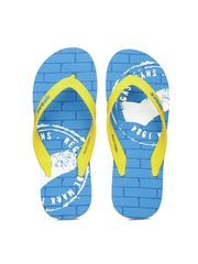 GAS Men Yellow & Blue Van Printed Flip-Flops