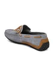 Ruosh Casual Men Grey Leather Driving Shoes