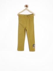 Chhota Bheem Girls Mustard Yellow Cotton Stretch Leggings