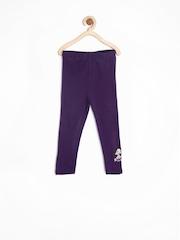 Chhota Bheem Girls Purple Cotton Stretch Leggings