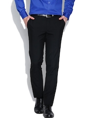 London Bridge Black Slim Fit Formal Trousers