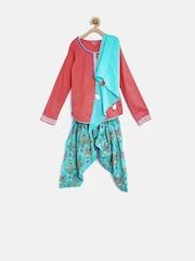 BIBA Girls Pink & Blue Printed Salwar Suit with Dupatta