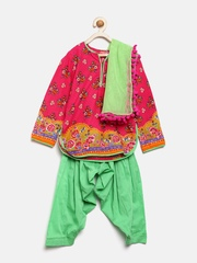 BIBA Girls Pink & Green Floral Print Patiala Kurta with Dupatta