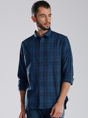 Tommy Hilfiger Blue Checked Custom Fit Casual Shirt