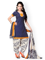 Vaamsi White & Blue Printed Crepe Unstitched Dress Material