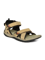 Woodland Men Camel Brown Leather Sandals