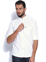 U.S. Polo Assn. White Tailored Fit Casual Shirt