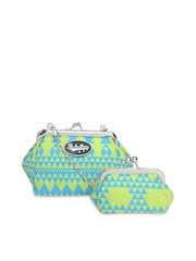 Be For Bag Blue & Green Printed Clutch with Coin Purse