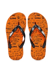 Kook N Keech Men Black & Orange Printed Flip-Flops