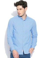 Blackberrys Blue Checked Printed Slim Casual Shirt