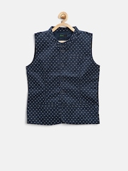 United Colors of Benetton Boys Navy Printed Waistcoat