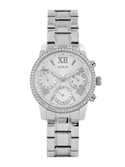 GUESS Women Silver-Toned Dial Watch W0623L1