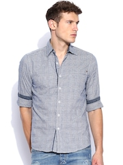 Lee White & Blue Checked Slim Fit Casual Shirt